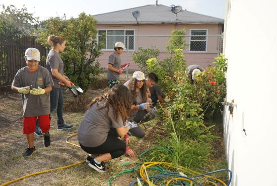 A group of youth and adult volunteers working in a community garden in San Diego