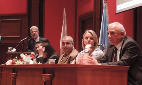 Panel at the 2016 GMH conference Including UNRWA, Jordan Ministry of Health, WHO and International Medical Corps representatives. The panel was moderated by Wael Al-Delaimy.